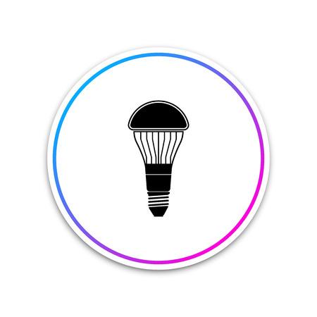 LED light bulb icon isolated on white background. Economical LED illuminated lightbulb. Save energy lamp. Circle white button. Vector Illustration Illustration