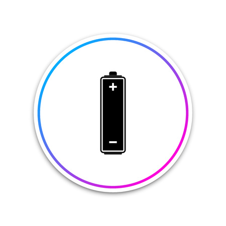 Battery icon isolated on white background. Circle white button. Vector Illustration