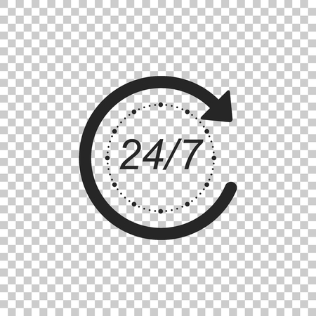 Open 24 hours a day and 7 days a week icon isolated on transparent background. All day cyclic icon. Flat design. Vector Illustration