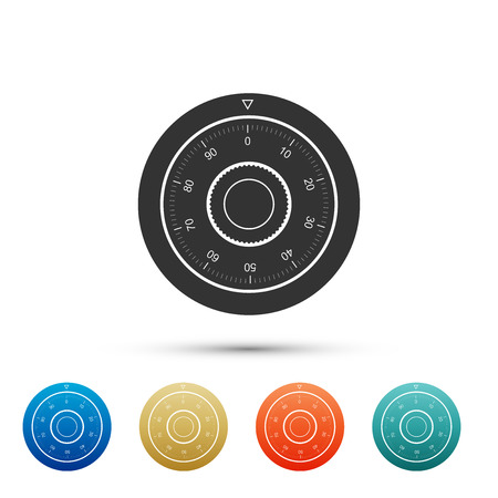 Safe combination lock wheel icon isolated on white background. Protection concept. Password sign. Set elements in color icons. Vector Illustration Ilustração