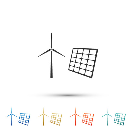 Wind mill turbines generating electricity and solar panel icon isolated on white background. Energy alternative, concept of renewable energy. Set elements in color icons. Vector Illustration