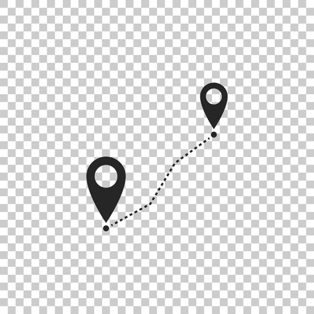 Route location icon isolated on transparent background. Map pointer sign. Concept of path or road. GPS navigator. Flat design. Vector Illustration Ilustração