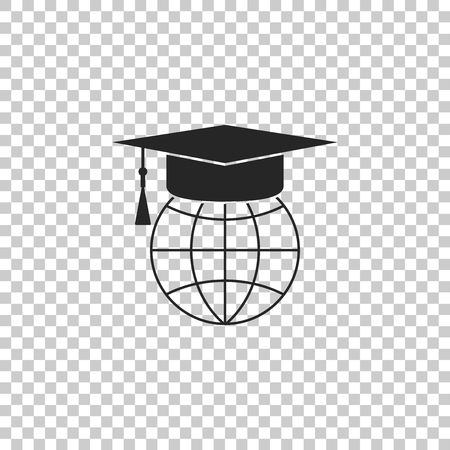 Graduation cap on globe icon isolated on transparent background. World education symbol. Online learning or e-learning concept. Flat design. Vector Illustration