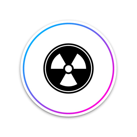 Radioactive icon isolated on white background. Radioactive toxic symbol. Radiation Hazard sign. Circle white button. Vector Illustration Ilustração