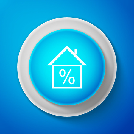 House with discount tag icon isolated on blue background. House percentage sign price. Real estate home. Credit percentage symbol. Money loan symbol.Circle blue button. Vector Illustration Illustration