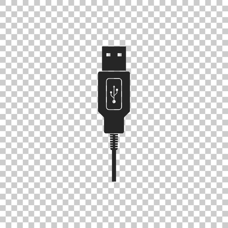 USB cable cord icon isolated on transparent background. Connectors and sockets for PC and mobile devices. Computer peripherals connector or smartphone recharge supply. Flat design. Vector Illustration
