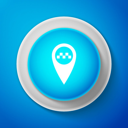 Map pointer with taxi icon isolated on blue background. Circle blue button. Vector Illustration Ilustrace