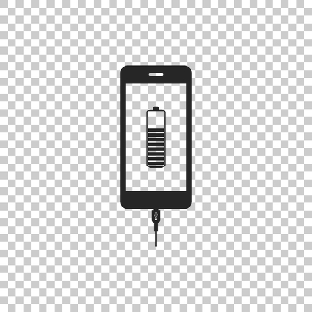 Smartphone battery charge icon isolated on transparent background. Phone with a low battery charge and with USB connection. Flat design. Vector Illustration Ilustração