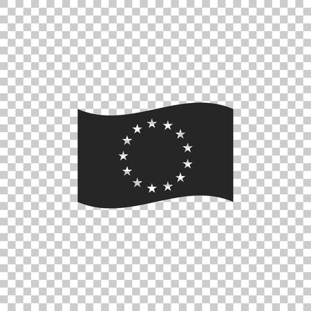 Flag of European Union icon isolated on transparent background. EU circle symbol. Waving EU flag. Flat design. Vector Illustration