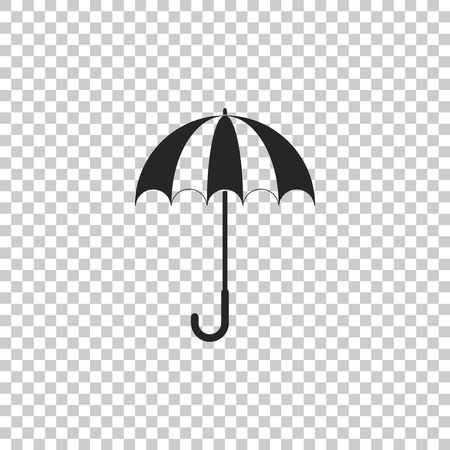 Classic elegant opened umbrella icon isolated on transparent background. Rain protection symbol. Flat design. Vector Illustration