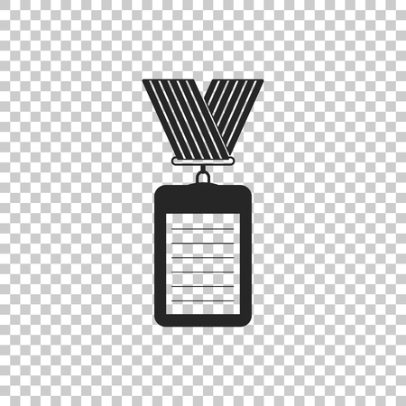 Identification badge with lanyard icon isolated on transparent background. Identification card. It can be used for presentation, identity of the company. Flat design. Vector Illustration