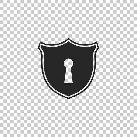 Shield with keyhole icon isolated on transparent background. Protection and security concept. Safety badge icon. Privacy banner. Defense tag. Flat design. Vector Illustration