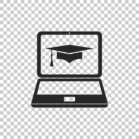 Graduation cap and laptop icon. Online learning or e-learning concept icon isolated on transparent background. Flat design. Vector Illustration Illustration