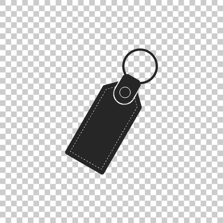 Rectangular key chain with ring for key icon isolated on transparent background. Flat design. Vector Illustration Çizim
