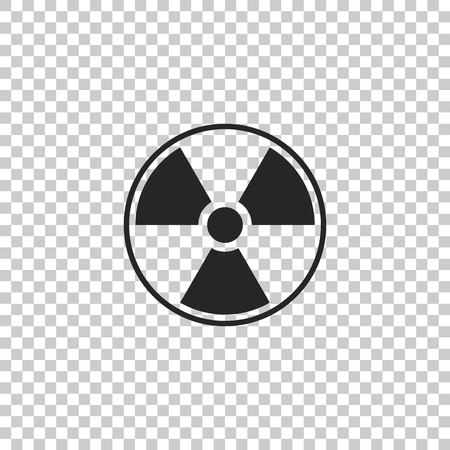 Radioactive icon isolated on transparent background. Radioactive toxic symbol. Radiation Hazard sign. Flat design. Vector Illustration