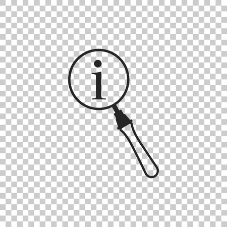 Magnifying glass and information icon isolated on transparent background. Search with information sign. Flat design. Vector Illustration
