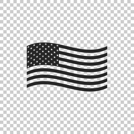 American flag icon isolated on transparent background. Flag of USA. Flat design. Vector Illustration