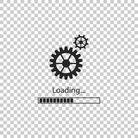Loading and gear icon isolated on transparent background. Progress bar icon. System software update. Loading process symbol. Flat design. Vector Illustration Ilustração