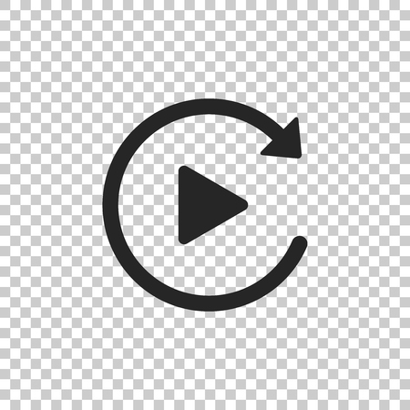 Video play button like simple replay icon isolated on transparent background. Flat design. Vector Illustration