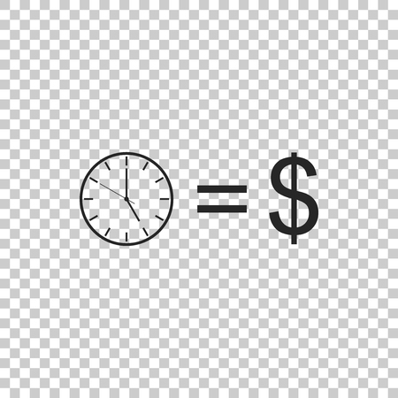 Time is money sign isolated on transparent background. Money is time. Effective time management. Convert time to money. Flat design. Vector Illustration