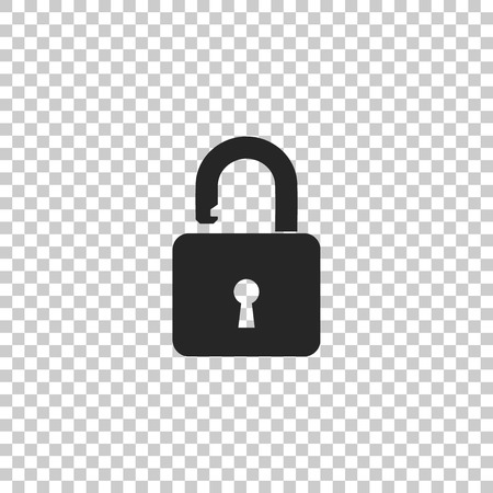 Open padlock icon isolated on transparent background. Lock symbol. Flat design. Vector Illustration Ilustração