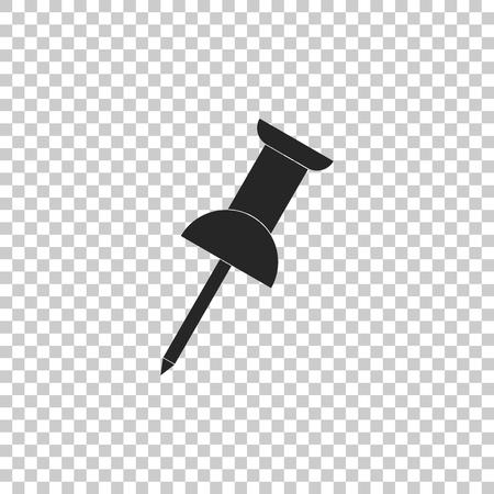 Push pin icon isolated on transparent background. Thumbtacks sign. Flat design. Vector Illustration