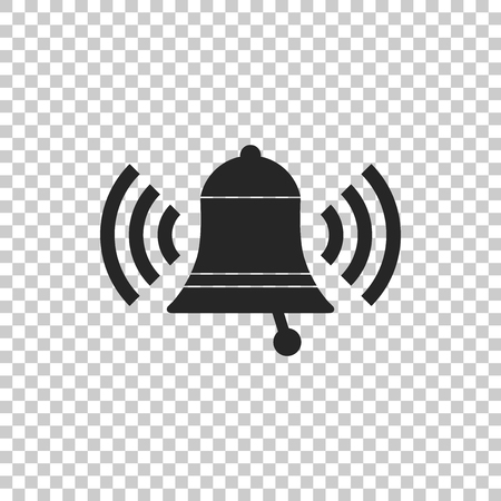 Ringing bell icon isolated on transparent background. Alarm symbol, service bell, handbell sign, notification symbol. Flat design. Vector Illustration