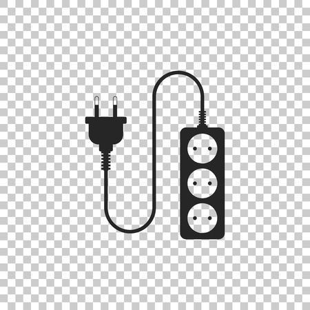 Electric extension cord icon isolated on transparent background. Power plug socket. Flat design. Vector Illustration