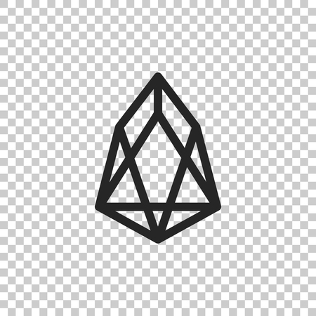 Cryptocurrency coin EOS icon isolated on transparent background. Physical bit coin. Digital currency. Altcoin symbol. Blockchain based secure crypto currency. Flat design. Vector Illustration