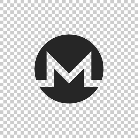 Cryptocurrency coin Monero XMR icon isolated on transparent background. Physical bit coin. Digital currency. Altcoin symbol. Blockchain based secure crypto currency. Flat design. Vector Illustration