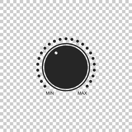 Dial knob level technology settings icon isolated on transparent background. Volume button, sound control, music knob with number scale, analog regulator. Flat design. Vector Illustration
