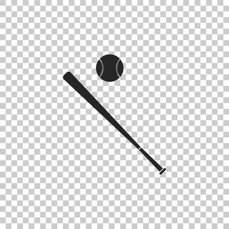 Baseball ball and bat icon isolated on transparent background. Flat design. Vector Illustration