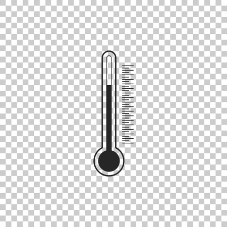 Thermometer icon isolated on transparent background. Flat design. Vector Illustration Illustration