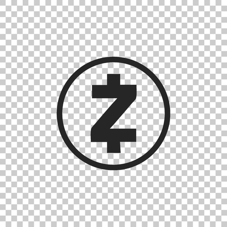 Cryptocurrency coin Zcash ZEC icon isolated on transparent background. Physical bit coin. Digital currency. Altcoin symbol. Blockchain based secure crypto currency. Flat design. Vector Illustration