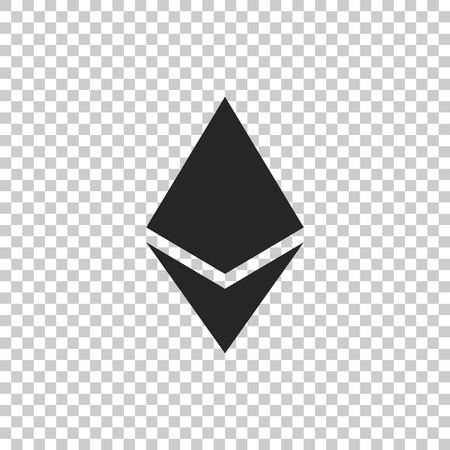Cryptocurrency coin Ethereum ETH icon isolated on transparent background. Physical bit coin. Digital currency. Altcoin symbol. Blockchain based secure crypto currency. Flat design. Vector Illustration