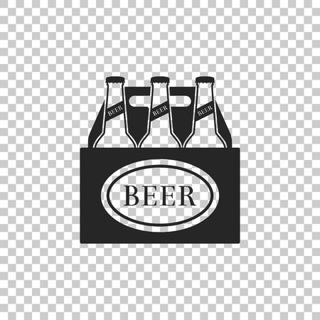Pack of beer bottles icon isolated on transparent background. Case crate beer box sign. Flat design. Vector Illustration Ilustração