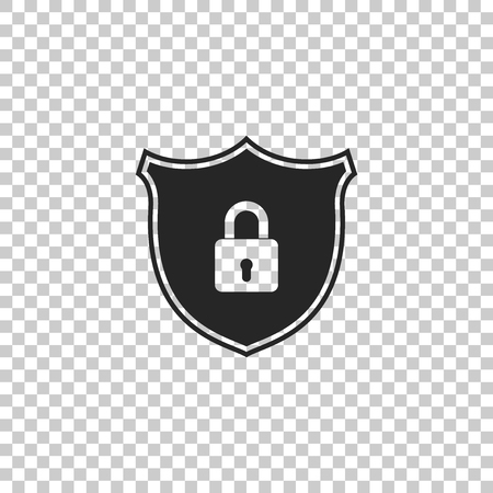 Shield security with lock icon isolated on transparent background. Flat design. Vector Illustration
