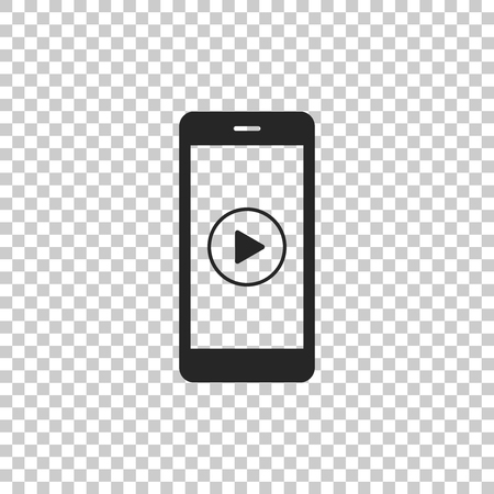 Smartphone with play button on the screen icon isolated on transparent background. Flat design. Vector Illustration Иллюстрация