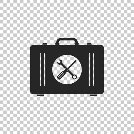 Toolbox icon isolated on transparent background. Flat design. Vector Illustration