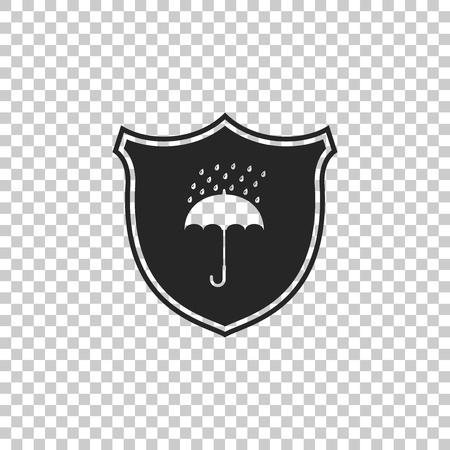 Waterproof icon isolated on transparent background. Shield and umbrella. Water protection sign. Water resistant symbol. Flat design. Vector Illustration