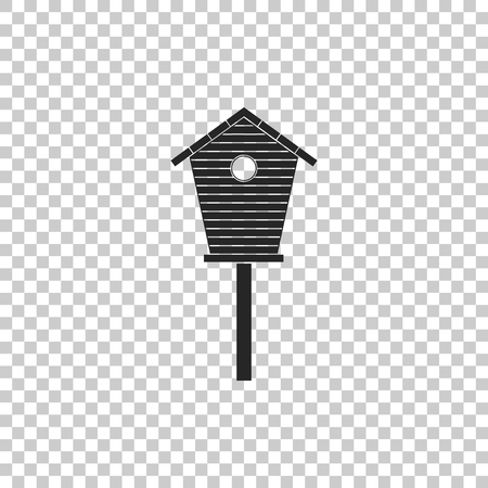 Bird house icon isolated on transparent background. Nesting box birdhouse, homemade building for birds. Flat design. Vector Illustration Illustration