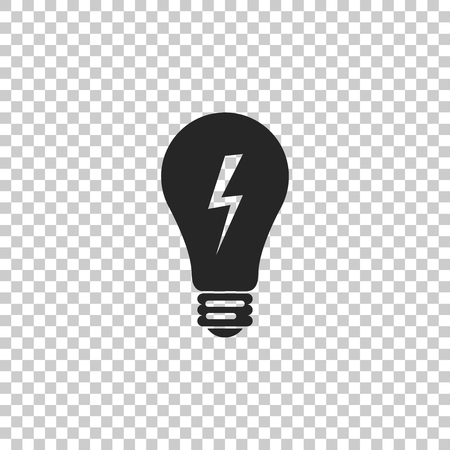 Light lamp sign. Bulb with lightning symbol icon isolated on transparent background. Idea symbol. Flat design. Vector Illustration