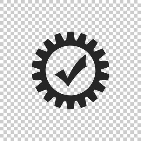 Gear with check mark icon isolated on transparent background. Cogwheel simple icon. Approved service sign. Transmission Rotation Mechanism symbol. Flat design. Vector Illustration Ilustração