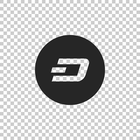 Cryptocurrency coin Dash icon isolated on transparent background. Physical bit coin. Digital currency. Altcoin symbol. Blockchain based secure crypto currency. Flat design. Vector Illustration Ilustração