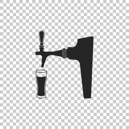 Beer tap with glass icon isolated on transparent background. Flat design. Vector Illustration