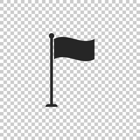 Flag icon isolated on transparent background. Location marker symbol. Flat design. Vector Illustration