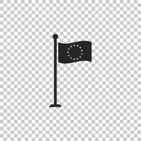 Flag of European Union icon isolated on transparent background. EU circle symbol. Waving EU flag on a metallic pole. Flat design. Vector Illustration