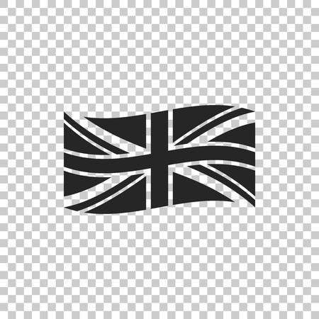 Bandiera della Gran Bretagna icona isolato su sfondo trasparente. Segno della bandiera del Regno Unito. Segno ufficiale della bandiera del Regno Unito. simbolo britannico. Design piatto. illustrazione vettoriale Vettoriali