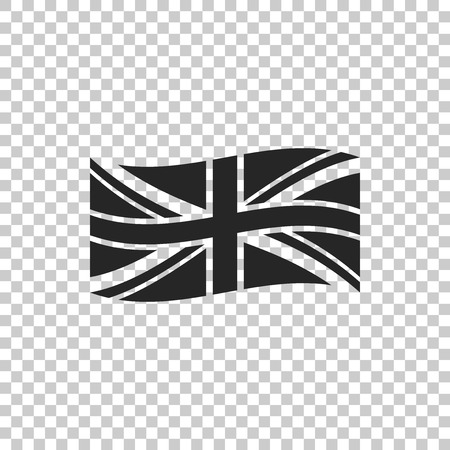 Flag of Great Britain icon isolated on transparent background. UK flag sign. Official United Kingdom flag sign. British symbol. Flat design. Vector Illustration Ilustração