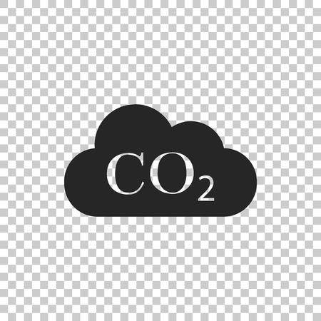 CO2 emissions in cloud icon isolated on transparent background. Carbon dioxide formula symbol, smog pollution concept, environment concept, combustion products. Flat design. Vector Illustration
